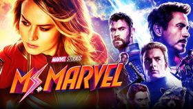 Captain Marvel, Ms Marvel logo, Avengers Endgame poster}