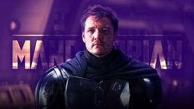 The Mandalorian logo, Pedro Pascal as Din Djarin with no helmet}