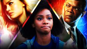 Teyonah Parris as Monica Rambeau, Samuel L. Jackson as Nick Fury, Brie Larson as Captain Marvel}