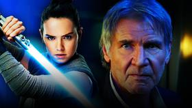 Daisy Ridley as Rey, Harrison Ford as Han Solo from The Force Awakens}