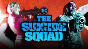 Margot Robbie as Harley Quinn, The Suicide Squad logo, Idris Elba as Bloodsport}