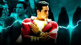 Shazam shooting lightning from his hands}