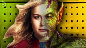 Half face of Captain Marvel, Half face of Skrull}