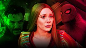 Elizabeth Olsen as Scarlet Witch, Benedict Cumberbatch as Doctor Strange, Spider-Man}