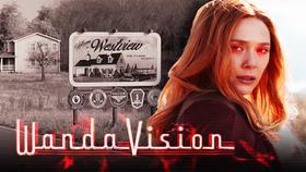 Westview, WandaVision logo, Scarlet Witch}