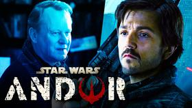 Stellan Skarsgård, Diego Luna as Cassian Andor, Star Wars Andor logo}