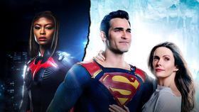 Javicia Leslie as Batwoman, Tyler Hoechlin as Superman, Elizabeth Tulloch as Lois Lane}