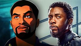 Animated T'Challa on left and Black Panther on right}