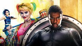 Chadwick Boseman's Black Panther alongside Margot Robbie's Harley Quinn}