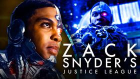 Ray Fisher as Cyborg, Zack Snyder's Justice League logo}