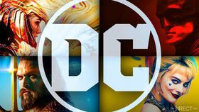 DC Logo, Gal Gadot's Wonder Woman, Robert Pattinson's Batman, Margot Robbie's Harley Quinn}