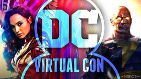 Gal Gadot's Wonder Woman and the Rock's Black Adam behind a DC virtual convention logo.}