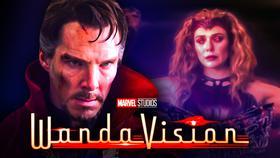 Benedict Cumberbatch as Doctor Strange, Elizabeth Olsen as Wanda Maximoff}
