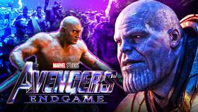 Dave Bautista as Drax, Josh Brolin as Thanos, Avengers: Endgame logo}
