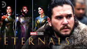 Kit Harrington in front of an Eternals cast photo with The Eternals logo in the foreground.}