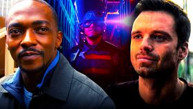 Anthony Mackie as Sam Wilson, Wyatt Russell as John Walker, Sebastian Stan as Bucky Barnes}