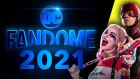 DC FanDome Logo, Harley Quinn, The Flash}