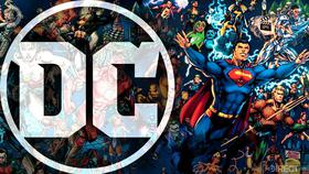 DC logo and DC heroes}