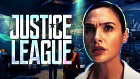 Justice League logo, Gal Gadot as Diana Prince}