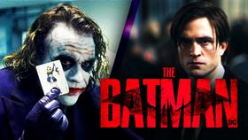 Ledger Joker, Pattinson Bruce Wayne, The Batman logo}