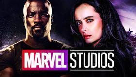 Marvel Studios logo, Krysten Ritter as Jessica Jones, Mike Colter as Luke Cage}