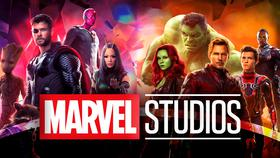 Marvel Studios logo in foreground with Thor, Gamora and more in background}