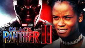 Letitia Wright as Shuri, Black Panther 2 logo, Chadwick Boseman as Black Panther}