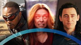 Disney+ logo, Wanda Maximoff, Loki, Falcon}