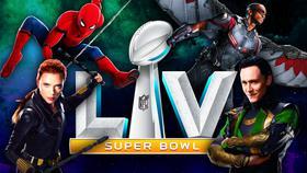 Spider-Man, Black Widow, Loki, Falcon, Super Bowl LV logo}