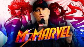 Kevin Feige with Ms Marvel Comics}