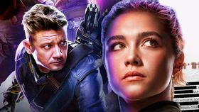 Jeremy Renner as Hawkeye, Florence Pugh as Yelena Belova}