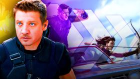 Jeremy Renner as Hawkeye, Kate Bishop in car concept art}