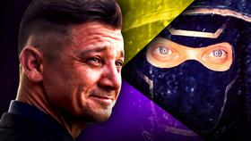 Jeremy Renner as Hawkeye on a purple and yellow background, close up of Ronin}