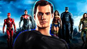 Superman in black suit, Justice League}