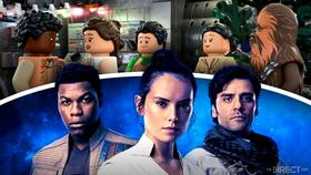 Lego versions of Finn, Rey, Poe, Rose and Chewbacca, Rey, Poe and Finn from Episode XI}