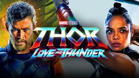 Tessa Thompson as Valkyrie, Thor: Love and Thunder Logo, Chris Hemsworth as Thor}