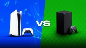 PS5 console, 'VS' text, Xbox Series X console}