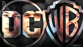 Ezra Miller, Hartley Sawyer, Ray Fisher, DC and Warner Bros. logos}