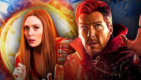 Elizabeth Olsen as Wanda Maximoff, Benedict Cumberbatch as Doctor Strange}