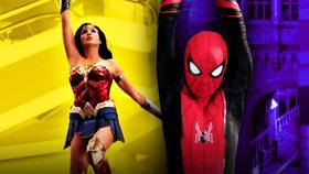 Wonder Woman, Spider-Man swinging}