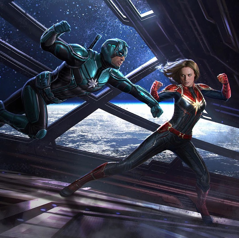 Captain Marvel Unused Key Frame by Andy Park