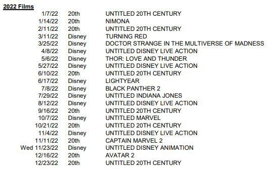 Disney Marvel Studios Release Calendar