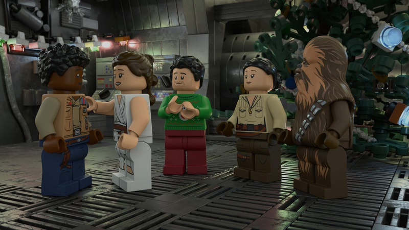 Lego versions of Rey, Finn, Poe, Rose & Chewbacca