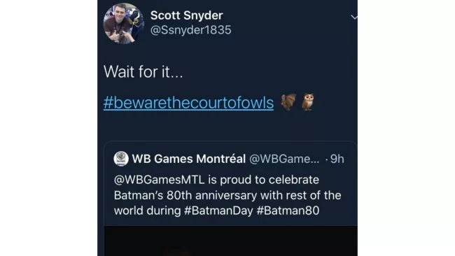 Scott Snyder's Court of Owl Tease for Batman game