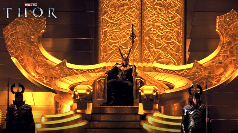 Loki on throne with armor in Thor