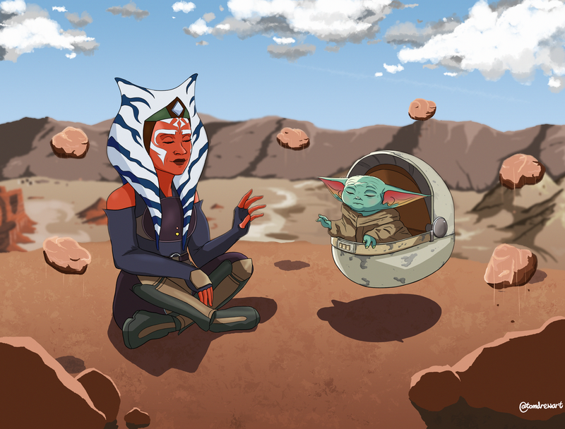 Ahsoka Tano and Baby Yoda AKA The Child, Floating Rocks on an orange planet