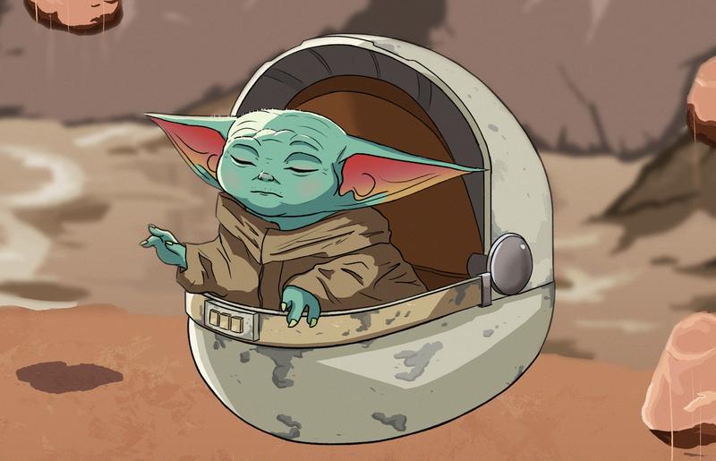 Baby Yoda with rocks