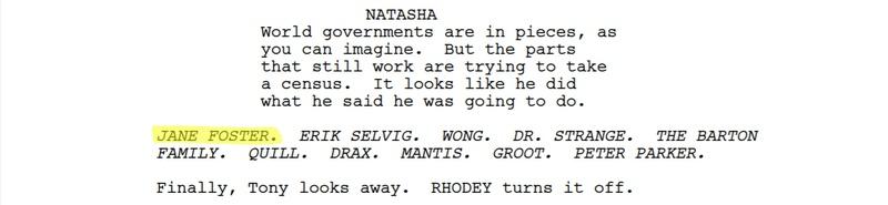 Avengers: Endgame Script Jane Foster Dusted
