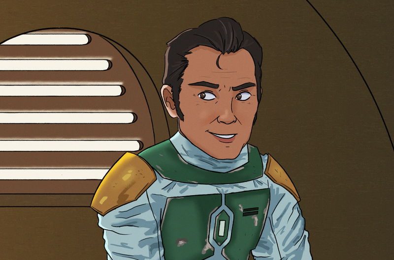 Cobb Vanth in Boba Fett's armor, looking smug