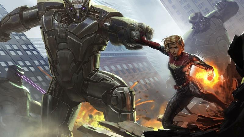 Captain Marvel Concept Art vs. Skrull Mechs